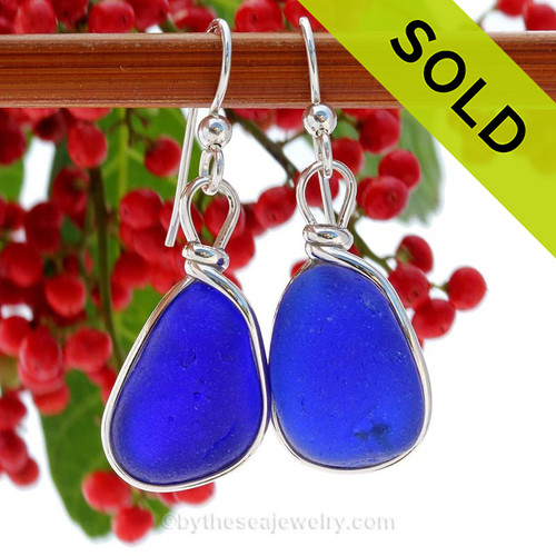 Thick Lucious Blue Sterling English Sea Glass Earrings In Sterling Original Wire Bezel©