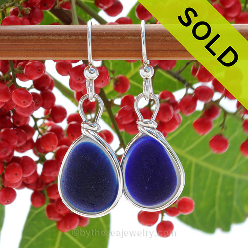 Super Ultra Rare Flashed Cobalt Blue sea glass pieces from Seaham England are set in our Original Wire Bezel© earring setting. This is a very hard sea glass to match and this photo is true to color, subtle variances in the blue shade can be seen. SOLD - Sorry This ULTRA RARE Sea Glass Earrings are NO LONGER AVAILABLE!