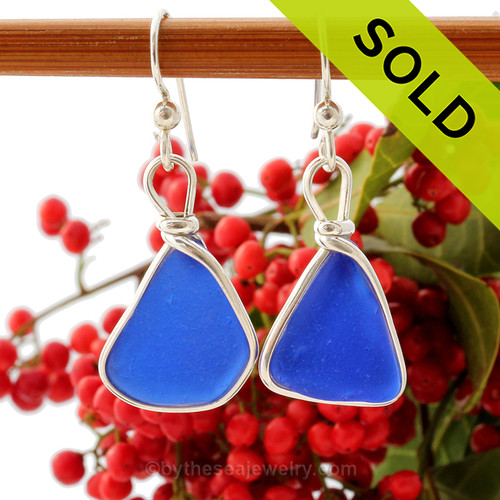 Vivid Blue Genuine Sea Glass Earrings in our Original Wire Bezel© setting in solid Sterling Silver.