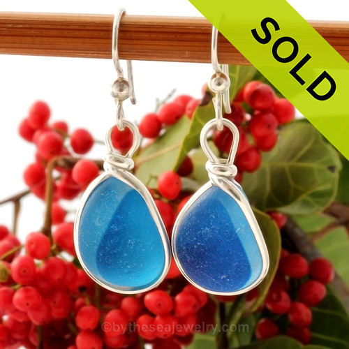 Super Ultra Rare Mixed Aqua Blue sea glass pieces from Seaham England are set in our Original Wire Bezel© earring setting. This is a very hard sea glass to match and this photo is true to color, subtle variances in the aqua shade can be seen. SOLD - Sorry This Sea Glass Jewerly Selection Is NO LONGER AVAILABLE!