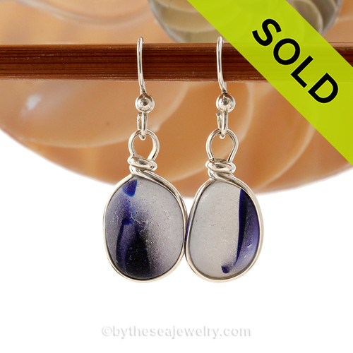 Super Ultra Mixed Cobalt Blue sea glass pieces from Seaham England are set in our Original Wire Bezel© earring setting. This is a very hard sea glass to match as the color is cross sectioned from one side to the other. SOLD - Sorry these Ultra Rare Sea Glass Earrings are NO LONGER AVAILABLE!