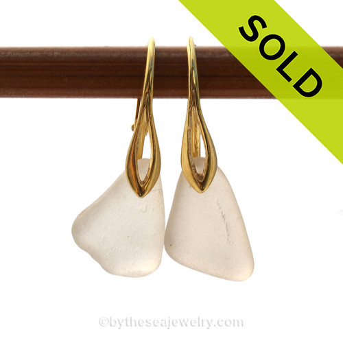 A pair of perfect natural beach found Sea Glass Earrings in white on 24K Gold Vermeil Leverbacks. SOLD - Sorry these Sea Glass Earrings are NO LONGER AVAILABLE!