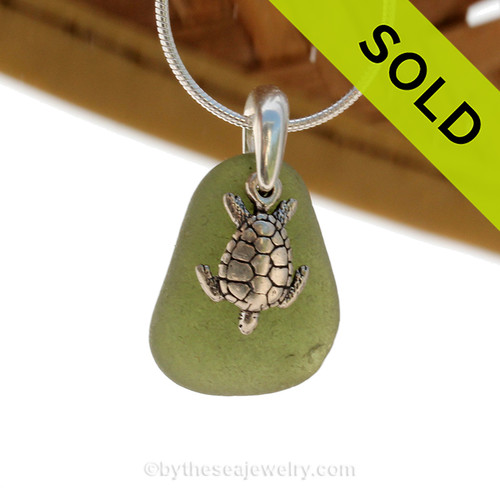 """Bright Seaweed Green Sea Glass With Sterling Silver Sea Turtle Charm - 18"""" STERLING CHAIN INCLUDED"""