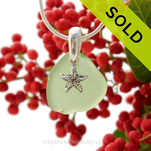 Petite Seafoam Green sea glass set on a solid sterling cast bail with a sterling silver Starfish charm.