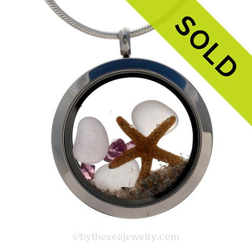 Rare pale purple sea glass combined with beach sand ,a real starfish and brightened up with amethyst gems makes this a great choice for a February Birthday!