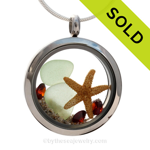 Seaside Celebration - Seafoam Green Genuine Sea Glass With Starfish & Crystal Garnet Gems - January Birthstone