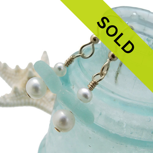 Pale Aqua Sea Glass Earring Drops With Pearls On Gold