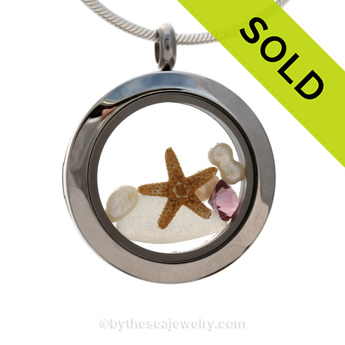 Winter White Sea Glass combined with amethyst gems and pearls with a baby starfish in this Mini Locket Necklace. SOLD - Sorry this Sea Glass Locket is NO LONGER AVAILABLE!