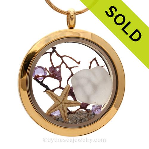 February Beach Lover - Winter White Sea Glass Locket Necklace W/ Real Starfish & Amethyst  Gems