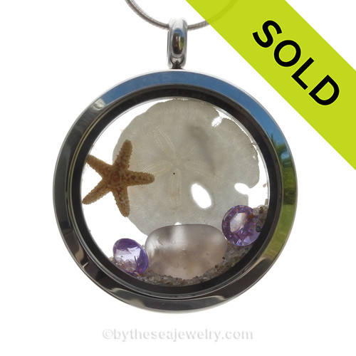 Rare Lavender Genuine Beach Found  Sea Glass combined a 30Mm Stainless Steel locket necklace with starfish, sandollar & Amethyst Crystal Gems. SOLD - Sorry this Sea Glass Locket is NO LONGER AVAILABLE!
