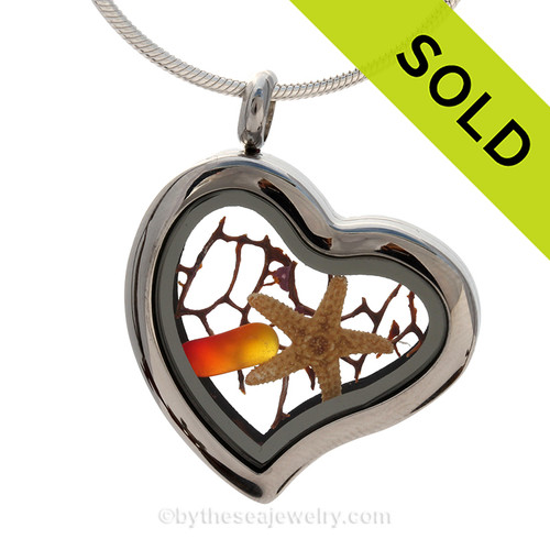 Genuine Beach Found Amberina Sea Glass combined a large silver heart locket necklace with starfish and small piece of seafan. SOLD - Sorry This Sea Glass Necklace Locket Is NO LONGER AVAILABLE!