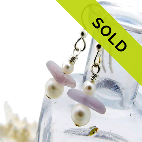 Sorry this pair of purple sea glass earrings with pearls has SOLD!