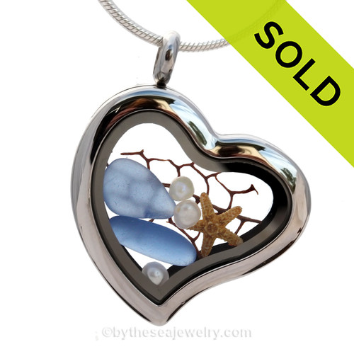 Carolina or Periwinkle Blue Genuine Beach Found  Sea Glass combined a silver heart locket necklace & Pearls. SOLD - Sorry This Sea Glass Necklace Locket Is NO LONGER AVAILABLE!