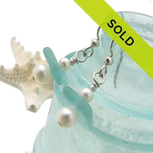 Deep Aqua Sea Glass Drops With Freshwater Pearls