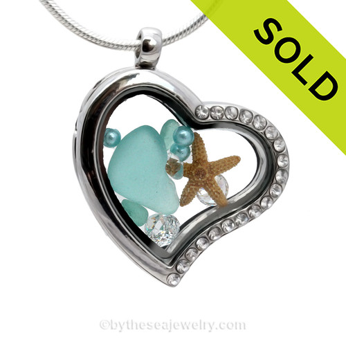 Our new heart lockets make this aqua sea glass really shine! Tiny crystals on the rim for some added bling. SOLD - Sorry This Sea Glass Jewelry Selection Is NO LONGER AVAILABLE!