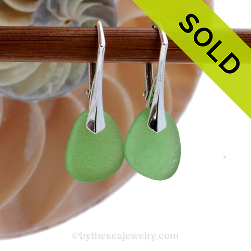 Simple Elegant Bright Green Genuine Sea Glass Earrings On Silver Leverbacks
