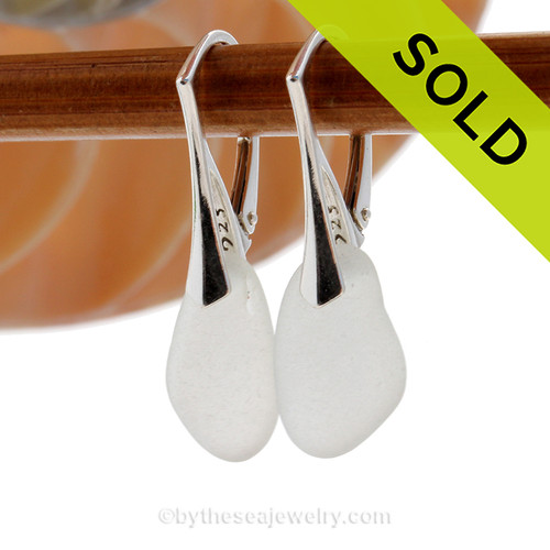 Shaped only by the sea, these natural sea glass pieces really glow hanging from these solid sterling silver leverbacks. SOLD - Sorry these Sea Glass Earrings are NO LONGER AVAILABLE!