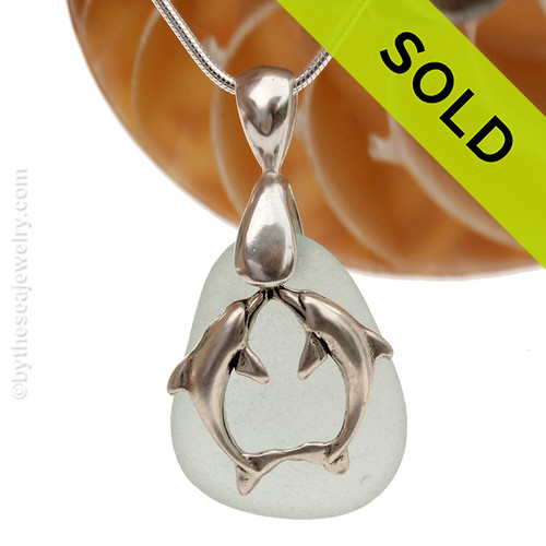 """LARGER Pale Aqua Green sea glass set on a Solid Sterling large cast bail with a Sterling Silver Kissing Dolphins Charm -  18"""" Quality Chain INCLUDED!"""