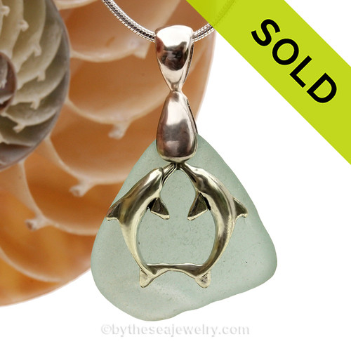 """LARGER Pale Aqua Blue sea glass set on a Solid Sterling large cast bail with a Sterling Silver Kissing Dolphins Charm -  18"""" Quality Chain INCLUDED!"""