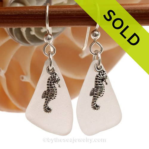 Genuine Unaltered White Sea Glass Earrings with Solid Sterling Seahorse Charms.