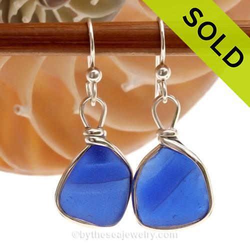 Ridged Rare Cobalt Blue Genuine Sea Glass Earings In Solid Sterling Wire Bezel©