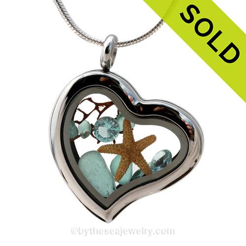 Tropical Sea Lovers -  Vivid Aqua Beach Found Sea Glass Heart Locket Necklace With Starfish & Aqumarine Gems