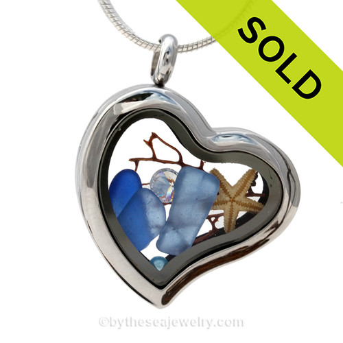 "SOLD - Sorry this Sea Glass Jewelry Selection is NO LONGER AVAILABLE! Carolina Blue Beach Found Sea Glass combined a silver heart locket necklace with Fresh Water Pearls, a CZ ""Daimond"" and a a baby starfish."