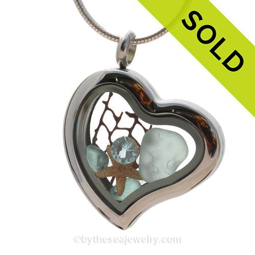 Spring Tides  - Aqua Beach Found Genuine Sea Glass Heart Locket Necklace W/ Starfish & Aquamarine Gem