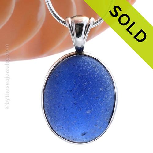 HUGE P-E-R-F-E-C-T Royal Blue English Genuine Sea Glass Pendant In Sterling Deluxe Wire Bezel©