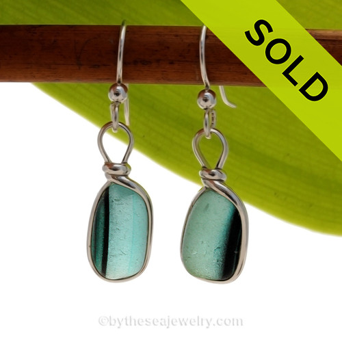 Vivid Multi Green Cross Sectioned Sea Glass Earrings set in our Original Wire Bezel© setting. Awesome sea glass from Seaham England where art glass factories discarded scraps into the North Sea. SOLD - Sorry these Ultra Rare Sea Glass Earrings are NO LONGER AVAILABLE!