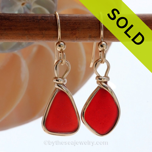 P-E-R-F-E-C-T Ruby Red Genuine Sea Glass Earrings in our Original Wire Bezel© setting lets all the color of these beautiful gold set beach found sea glass pieces shine! SOLD - Sorry these Red Sea Glass Earrings are NO LONGER AVAILABLE!