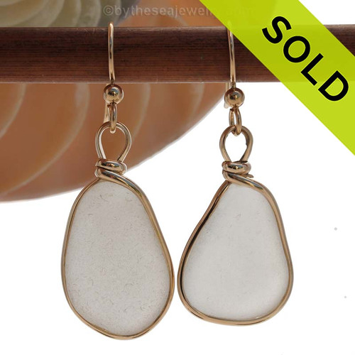Larger and longer natural UNALTERED white sea glass set in our Original Wire Bezel© setting. SOLD - Sorry these Sea Glass Earrings are NO LONGER AVAILABLE!