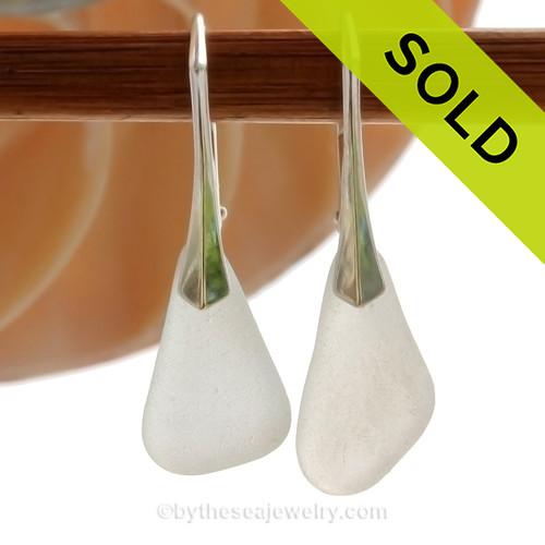 Genuine Perfect Beach Found Winter White Sea Glass Earrings on Sterling Silver Leverbacks. SOLD - Sorry these Sea Glass Earrings are NO LONGER AVAILABLE!