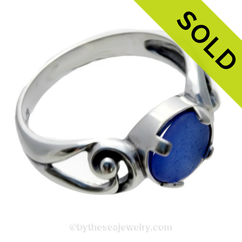 An almost perfectly round beach found blue sea glass in a solid sterling ring. SOLD - Sorry this Sea Glass Ring is NO LONGER AVAILABLE!