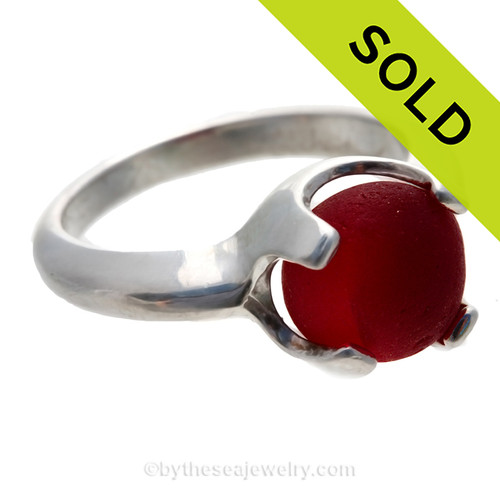 Ultra Rare Mixed Red English Sea Glass Ring in a Solid Sterling 4 prong setting. SOLD - Sorry this Sea Glass Ring is NO LONGER AVAILABLE!