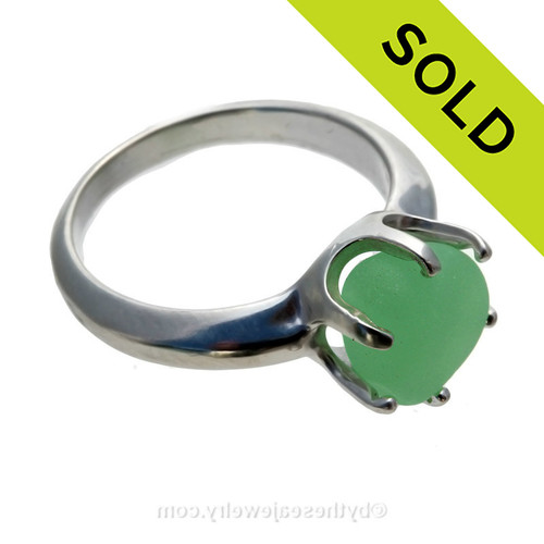 GENUINE UV Jadeite Green Seaham Sea Glass Resizable Ring In Sterling - Size 8  SOLD - Sorry this Sea Glass Ring is NO LONGER AVAILABLE!