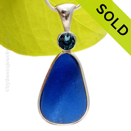 A HUGE Genuine Sea Glass Pendant in a vivid Cobalt Blue in our Deluxe Wire Bezel and set with A Brilliant Cut Sapphire. SOLD - Sorry this Rare Sea Glass Pendant is NO LONGER AVAILABLE!