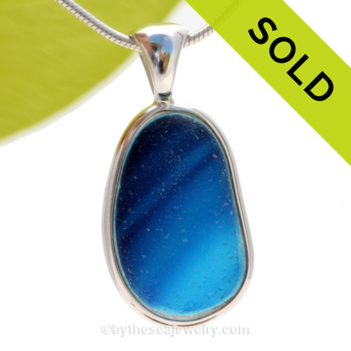 This ultra rare Seaham mixed blue sea glass multi color pendant is set in our Deluxe Wire Bezel© pendant setting. SOLD - Sorry this Ultra Rare Sea Glass Pendant is NO LONGER AVAILABLE!