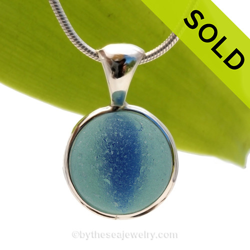 A Genuine Beach Found Sea Glass Marble set in our Deluxe Solid Sterling Deluxe Bezel setting. SOLD - Sorry this Ultra Rare Sea Glass Pendant is NO LONGER AVAILABLE!