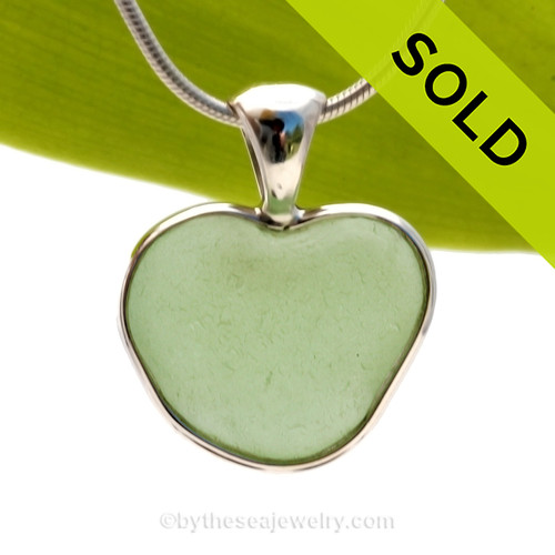 SOLD - Sorry this Ultra Rare Sea Glass Pendant is NO LONGER AVAILABLE! A beautiful Summery Seafoam  Green Natural Sea Glass Heart set in our deluxe wire bezel pendant setting!