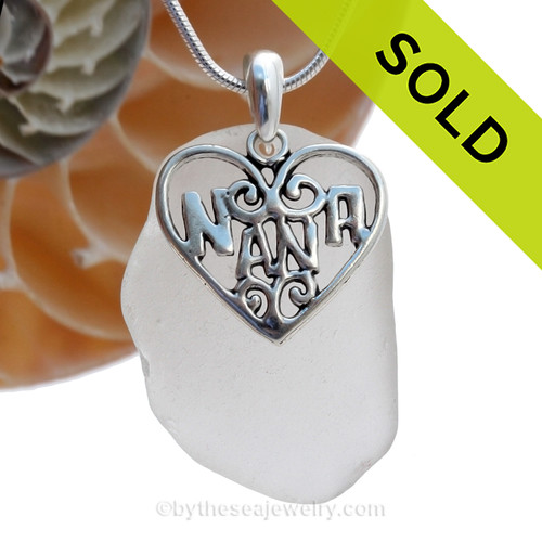 A  perfect  well frosted piece of larger pure White Genuine Sea Glass Necklace with a solid sterling bail and large Silver Sterling Nana charm. This piece comes complete with our sterling 1.3 MM snake chain.