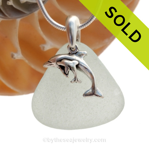 A PERFECT Seafoam Green Genuine Sea Glass Necklace in Solid Sterling Silver with a Momma and Baby Dolphin Charm. SOLD - Sorry this Sea Glass Necklace is NO LONGER AVAILABLE!