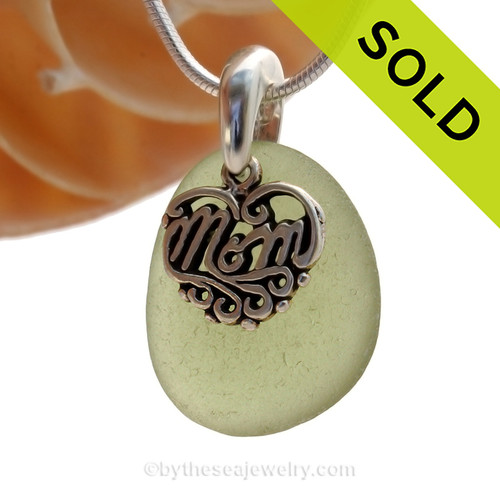 A PERFECT piece of Citrine Green genuine sea glass with a solid sterling bail and MOM charm. SOLD - Sorry this Sea Glass Necklace is NO LONGER AVAILABLE!
