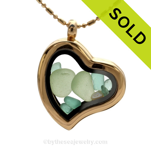 Beautiful seafoam sea glass pieces combined with aqua glass chips in this Genuine Sea Glass Gold Heart Locket Necklace. SOLD - Sorry this Sea Glass Locket is NO LONGER AVAILABLE!