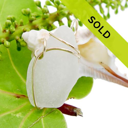 Simple Genuine White Sea Glass Pendant In Deco Sideset Goldfilled Pendant