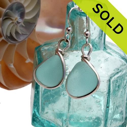 Thick Aqua beach found Sea Glass Earrings set in our signature Original Wire Bezel© setting in silver. SOLD - Sorry these Rare Sea Glass Earrings are NO LONGER AVAILABLE!