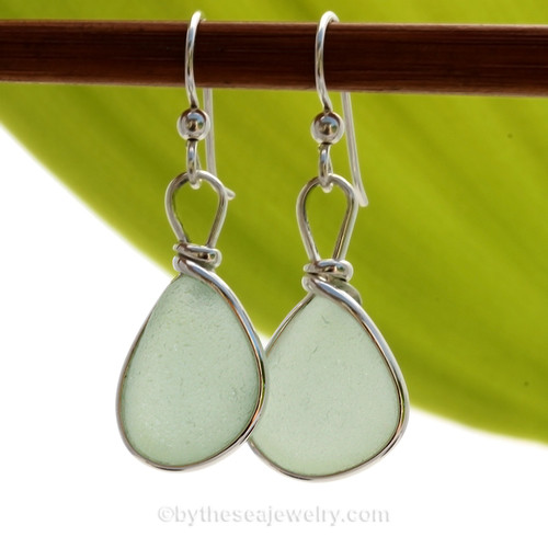 Petite smaller Aqua beach found Sea Glass Earrings set in our signature Original Wire Bezel© setting in silver.