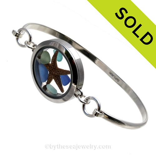 Genuine Sea Glass Locket Bracelet Tiny cobalt, aqua and seafoam sea glass  and a real starfish in this one of a kind sea glass bangle bracelet!  SOLD - Sorry this Sea Glass bangle Bracelet is NO LONGER AVAILABLE!