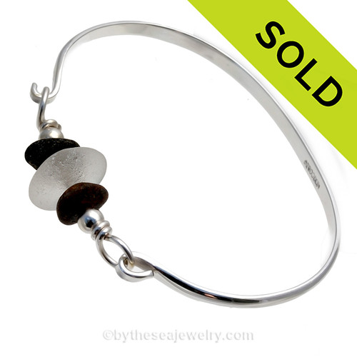 Pure White Genuine Sea Glass & Beach Stones on this solid sterling silver half round Sea Glass Bangle Bracelet. SOLD - Sorry this Sea Glass Bangle Bracelet is NO LONGER AVAILABLE!