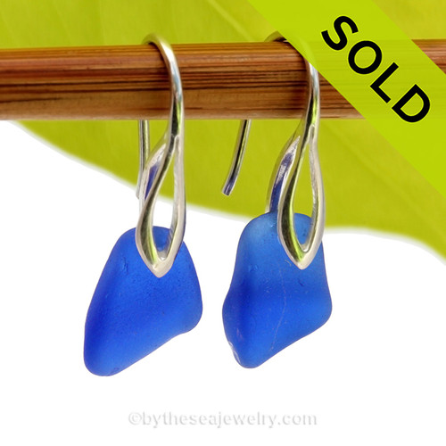 Squarish Genuine Blue Sea Glass Earrings on Sterling Deco Style Hooks. SOLD - Sorry this Sea Glass Jewelry Selection is NO LONGER AVAILABLE!